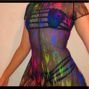 Dresses & Skirts - Mesh flame mini dress